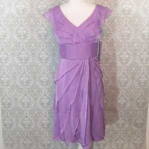 NWT!{Adrianna Papell}Size 4 Lavender Chiffon Dress
